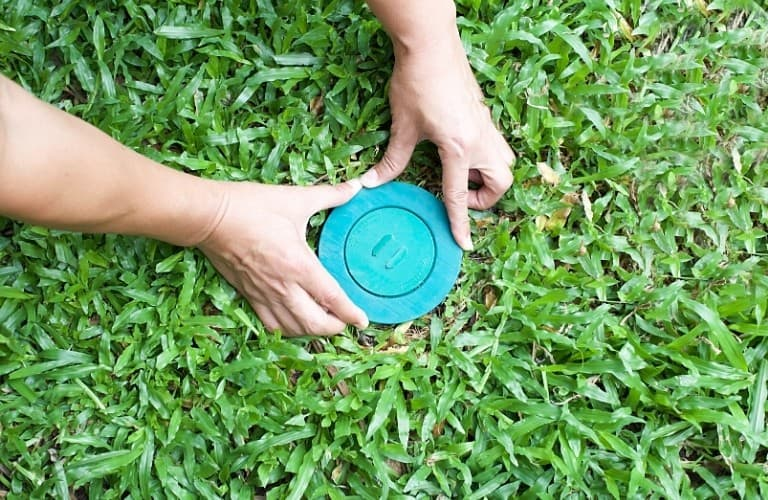 A person placing a termite bait station into the lawn.